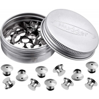 Mudder Locking Pin Keepers Backs, No Tool Required (Silver, 30 Pieces)