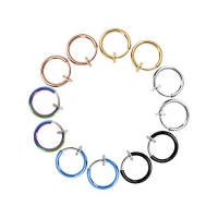 Mudder 12 Pieces Fake Earrings Nose Ear Lip Clip Rings Non-Pierced Earring Hoops Body Jewelry for Men and Women, 6 Colors