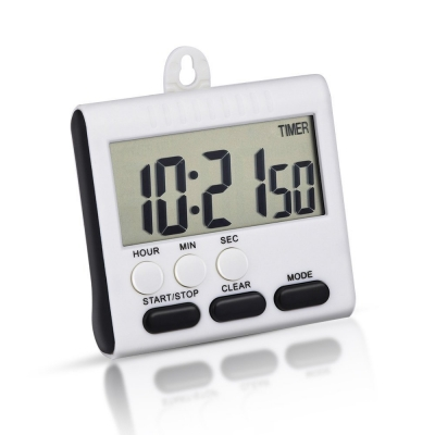 Mudder Magnetic Alarm Digital Kitchen Timer 24 Hours Clock Timer With  Stand, Big Screen (White Black)