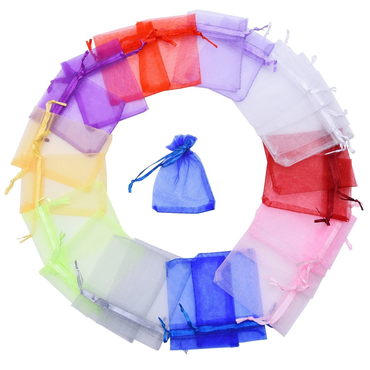 d953cc1fadb Mudder 100 Pieces Multi Colored Organza Gift Bags Wedding Favor Bags  Jewelry Pouches