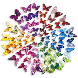 Mudder 6 Colors 3D Butterfly Stickers Wall Stickers for Home and Room Decoration, 72 Pieces