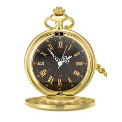 Mudder Smooth Antique Quartz Pocket Watch with Steel Chain (Gold)