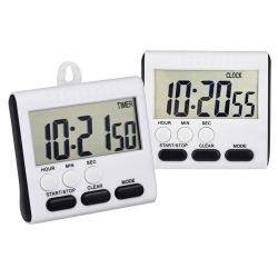 Mudder Magnetic Kitchen Timer for 24 Hours, Digital Clock Timer with Stand, Big Screen, 2 Pack (Black)