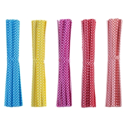 Mudder 500 Pieces Dot Twist Ties 4 Inches Bag Ties for Cellophane Party Bag