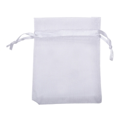 Mudder White Organza Gift Bags Wedding Favour Bags Jewelry Pouches, Pack of 100