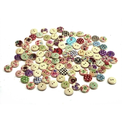 Mudder Mixed Colors Round DIY Wooden Buttons for Sewing and Crafting, 102 Pieces