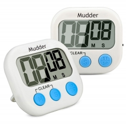 Mudder Magnetic Digital Kitchen Timer with Large LCD Display, 2 Piece (Blue)