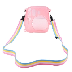 Mudder Clear Pink Hard Shell Protective Cover Case for Fujifilm Instax Mini 8/ 8+ Instant Film Camera with Rainbow Shoulder Strap