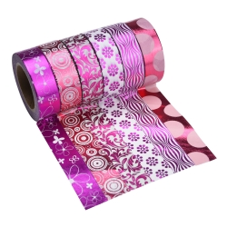 Mudder Washi Masking Tape Set, Adhesive Paper Tape for Crafts, Set of 6 (Hot Pink)
