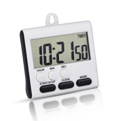 Mudder Magnetic Alarm Digital Kitchen Timer 24 Hours Clock Timer with Stand, Big Screen (White-black)