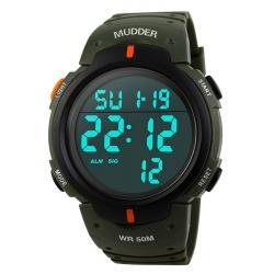 Mudder 5ATM Waterproof Digital Sports Military Multifunctional Dive Wrist Watch, Armygreen