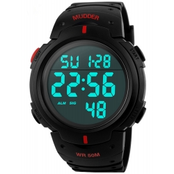 Mudder 5ATM Waterproof Digital Sports Military Multifunctional Dive Wrist Watch Red