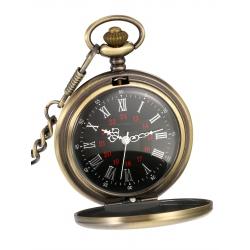 Mudder Smooth Antique Quartz Pocket Watch with Steel Chain (Bronze)
