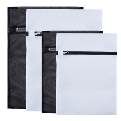 Mudder Delicates Laundry Wash Bags, Set of 4 (Black, White)