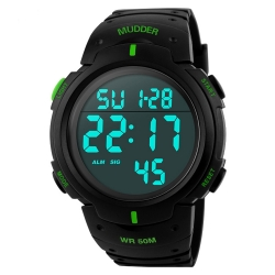 Mudder 5ATM Waterproof Digital Sports Military Multifunctional Dive Wrist Watch Green
