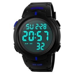 Mudder 5ATM Waterproof Digital Sports Military Multifunctional Dive Wrist Watch, Blue