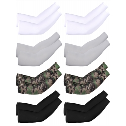 Mudder 8 Pairs Unisex UV Protection Arm Cooling Sleeves Ice Silk Arm Cover (White Black Grey Camouflage)