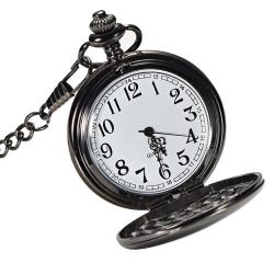 Mudder Classic Smooth Vintage Black Steel Mens Pocket Watch