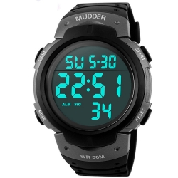 Mudder 5ATM Waterproof Digital Sports Military Multifunctional Dive Wrist Watch, Titanium
